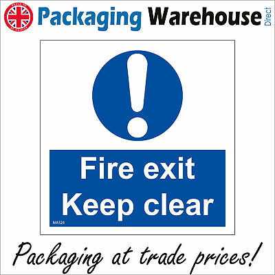 Ma524 Fire Exit Keep Clear Cupboard Escape Route Vinyl Sticker Plaque Safe Sign • 3.78£