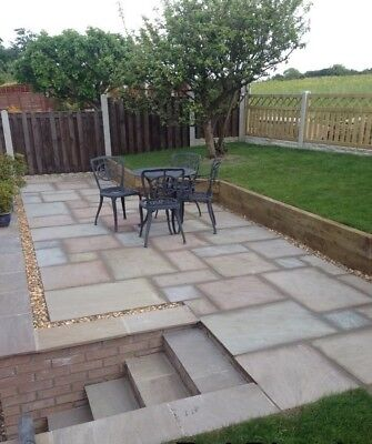 18.5m2 RAJ GREEN Natural Indian Sand Stone Paving / Patio Slab 22mm Thick • 370£