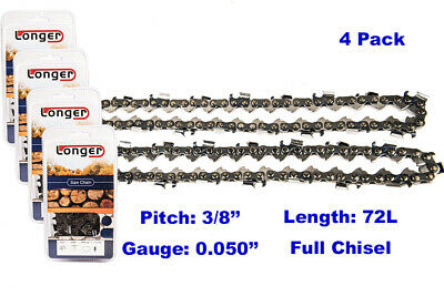 $44 • Buy 20 Inch 3/8  Pitch 0.050'' Gauge Full Chisel Chainsaw Chain 72 Links (4PCS)