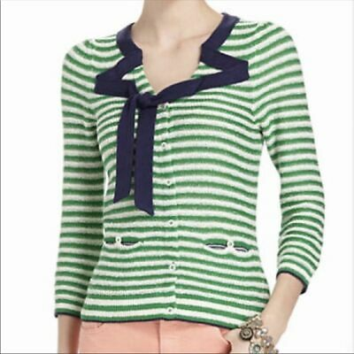 $ CDN30 • Buy HWR Anthropologie Striped Cardigan White Green Navy Button Front Tie Size Small
