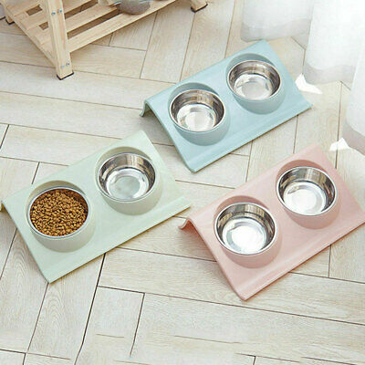 Stainless Double Food Water Pet Feeding Bowl Puppy Cat Dog Kitten NON Slip Dish • 8.32£