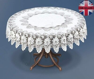 Tablecloth Round Lace White NEW Ø140 Cm (55 ) Fantastic Xmas Gift/present • 18.99£