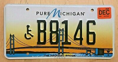 $19.99 • Buy Mackinac Bridge Disabled Person  Handicapped License Plate   B 8146   Wheelchair
