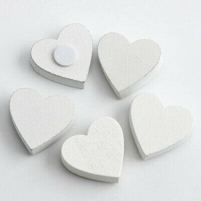 £2.99 • Buy White 23mm Wooden Hearts Decorations Wedding Favour Box Crafts Embellishments