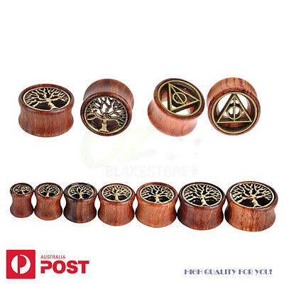 AU7.99 • Buy 2x Organic Wood Flesh Tunnels Plugs Flared Ear Piercing Stretcher Saddle 8-20mm