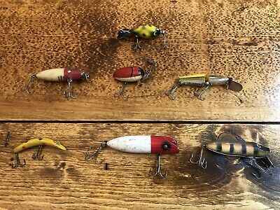 $ CDN55 • Buy Vintage Collection Fishing Lures Plugs Lot Of 7 Millsite, Heddon, Hopper Stopper