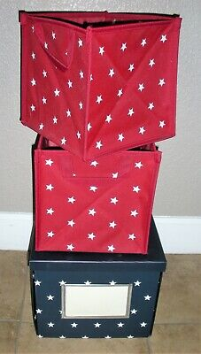 $19.50 • Buy Two Pottery Barn Collaspible Bin Boxes - Navy & Red With White Stars