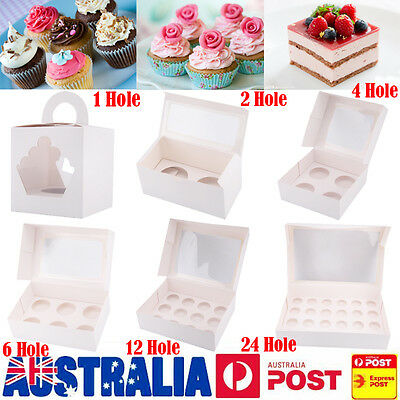 AU14.99 • Buy Cupcake Box 1/2/4/6/12/24 Holes Window Face Party Wedding Baby Xmas Gift Boxes
