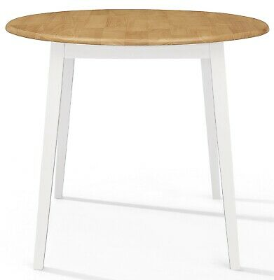 Small Solid Wooden Drop Leaf Round Kitchen Dining Table In White And Oak Finish • 129£