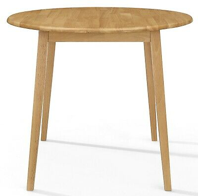 £135 • Buy Small Wooden Kitchen Drop Leaf Round Dining Table In Oak Finish |100% Solid Wood