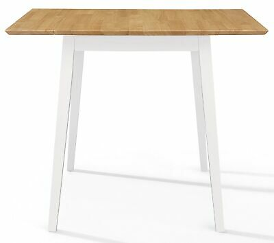 Small Solid Wooden Drop Leaf Kitchen Dining Table In White And Oak Finish • 129£