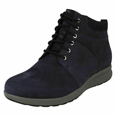Ladies Clarks 'Un Adorn Walk' Navy Nubuck Casual Lace Up Ankle Boots - D Fitting • 88.99£