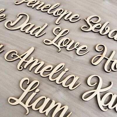 Personalised Script Child's Names & Words Wedding Wooden Names MDF Art Craft L&S • 2.18£