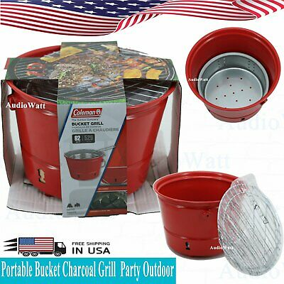 $28.39 • Buy Coleman Portable Red Bucket Charcoal Grill Party Outdoor Cooker BBQ Backyard NEW