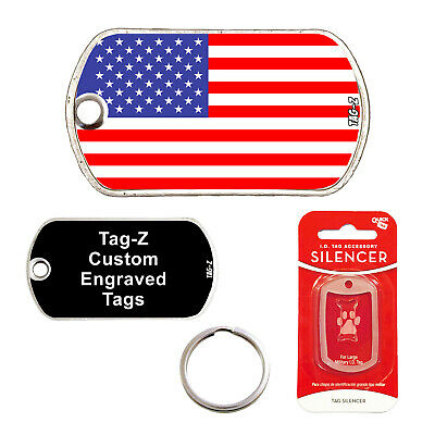 $10 • Buy American Flag - Customized - Pet Tag - Military Shape - Tag-z Dog Tags