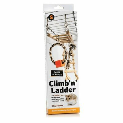 Small Animal Climb 'n' Ladder With Hammock Pet Exercise Toy With Wood Rope Chew • 5.75£