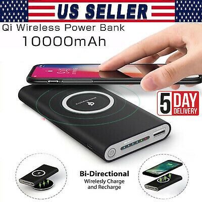 AU31.24 • Buy Qi Wireless Fast Charger Power Bank 10000mAh Portable Battery For Phone Charge