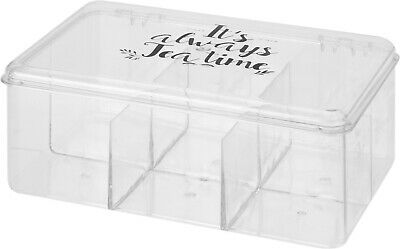 6 Compartment Clear Plastic Tea Bag Storage Box With Lid Organiser Kitchen Home • 7.99£