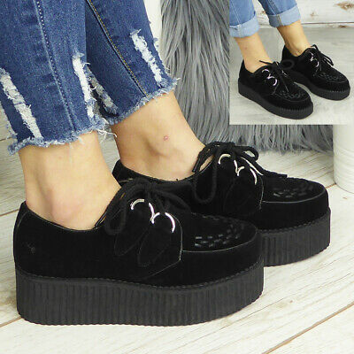 £19.90 • Buy Ladies Creepers Trainers Womens Platform Goth Punk Pumps Lace Up Flat Shoes Size
