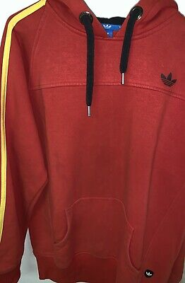 $ CDN55 • Buy Adidas 3 Stripes Brand Mens Trefoil Cotton Top Casual Hoodie Mens - Red Size XL