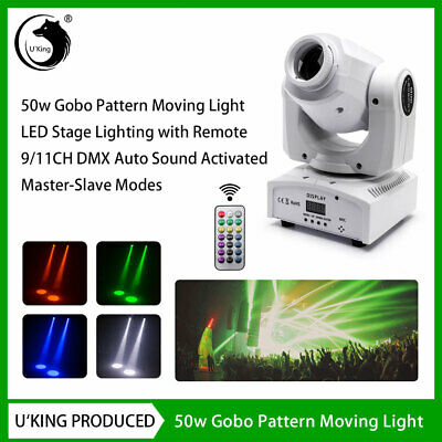 50W Stage Light LED Moving Head GOBO DMX Remote DJ Wedding Party Disco White • 54.99£