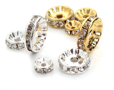 10 X Rhinestone Crystal Diamante Silver Gold Plated Rondelle Spacers Beads #1 • 1.99£