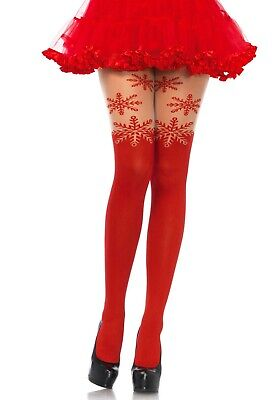 Red Xmas Snowflake Tights Christmas Santa Elf Hosiery Festive Red Satin Bow  • 10.99£