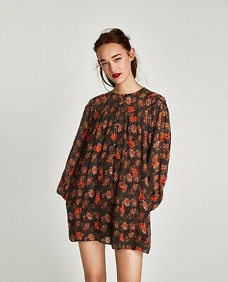 Zara Printed Embroidered Short Dress  Size XS~NWT  • 29.99$