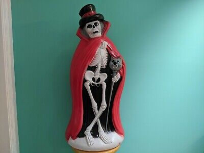 $229.99 • Buy Skeleton With Cat Cane/Red Cape 34  Lighted Halloween Blow Mold