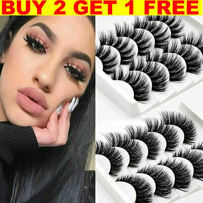 5Pair 3D Mink False Eyelashes Wispy Cross Long Thick Soft Fake Eye Lashes  UK • 3.49£