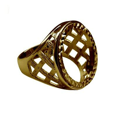 £231.68 • Buy Half Sovereign Ring Mount 9ct Solid Yellow Gold Lattice With Bezel UK Hallmarked