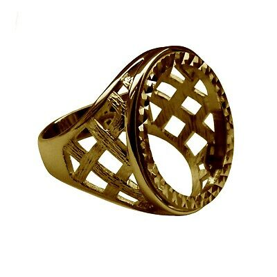 £329.46 • Buy Full Sovereign Ring Mount 9ct Solid Yellow Gold Lattice With Bezel UK Hallmarked