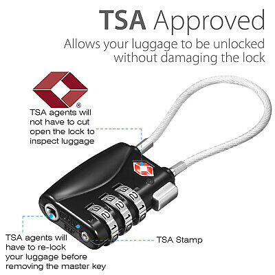 AU9.99 • Buy TSA Approved Flexible Steel Cable Lock 3Dial Combination Travel Suitcase Luggage