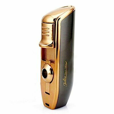 JOBON Classic Triple Torch Flame Cigarette Cigar Lighter With Cigar Punch-Gray  • 14.33£
