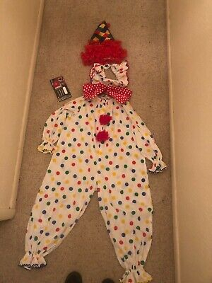 $ CDN52.88 • Buy Vintage Clown Costume Outfit W/Wig Makeup Hat Collar Bow FREE SHIPPING