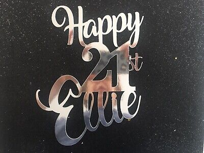 AU15.50 • Buy PERSONALISED METALLIC ANY NAME AGE Cake Topper 1ST 18TH 21ST 50TH Birthday