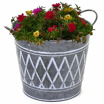 Galvanised Planter Large Round Plant Pot With Handles Home Garden Outdoor Indoor • 12.99£