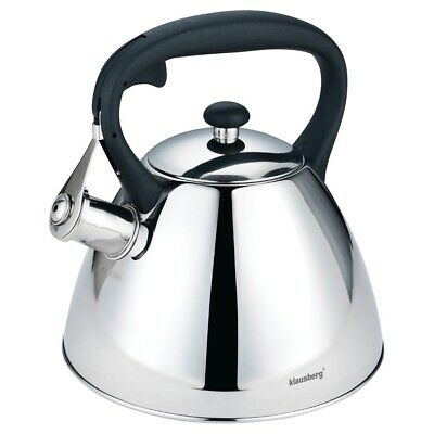 KLAUSBERG 7207 Whistling Kettle 3 L Stainless Steel Silver Induction / STOVE TOP • 19.99£