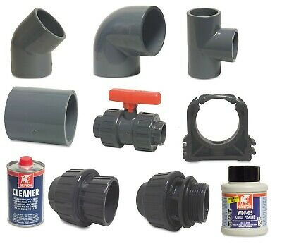 £2.60 • Buy 50mm SWIMMING POOL PVC PIPE FITTINGS, VALVES, GLUE AND CLEANER