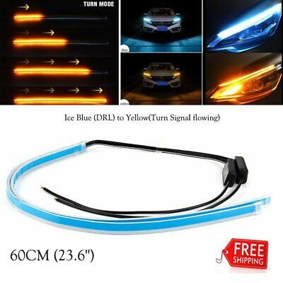 $9.98 • Buy 2x 60cm LED Turn Strip Signal Lights Daytime Running Sequential Flow Headlight