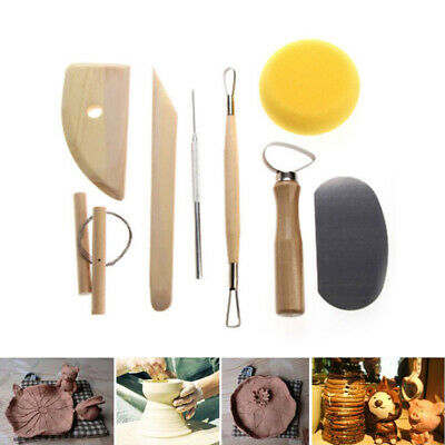 AU17.33 • Buy 8 Pcs Pottery Tools Set Clay Sculpting Modeling Carving Wood Craft Scraping Kit