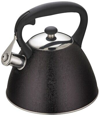 KLAUSBERG 7350 Whistling Kettle 3 L Stainless Steel Black Induction / STOVE TOP • 22.99£