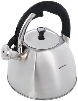 KLAUSBERG 7015 Whistling Kettle 3 L Stainless Steel Silver Induction / STOVE TOP • 23.99£