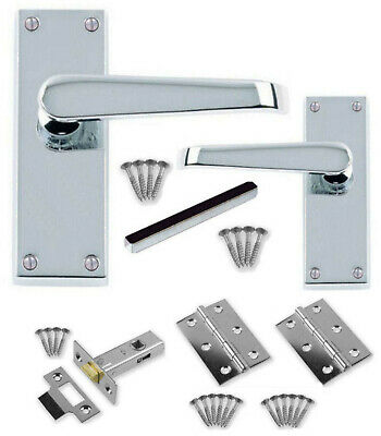 £7.95 • Buy Polished Chrome Straight Internal Door Handle Sets +3  Hinges +64mm Latches CBX