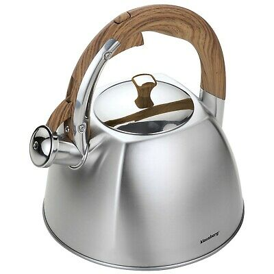 KLAUSBERG Whistling Kettle 3L Stainless Steel Matte Silver Induction / STOVE TOP • 21.99£