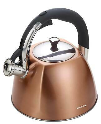 KLAUSBERG 7202 Whistling Kettle 3 L Stainless Steel Copper Induction / STOVE TOP • 24.99£