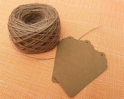 50/100 Scallop Rectangular 9x4.5cm Kraft Gift Tags Paper Card Label Free Strings • 2.45£