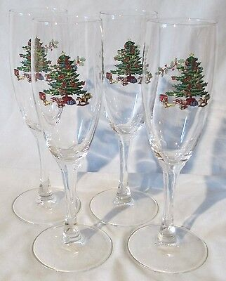 $20.89 • Buy Tienshan Holiday Hostess Christmas Tree Fluted Champagne Glass Set Of 4