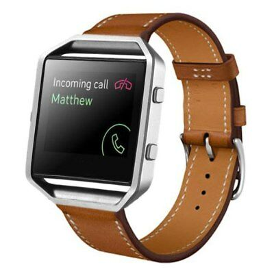 AU33.61 • Buy Fitbit Blaze BROWN With FRAME Replacement Band Genuine Leather Strap Adjustable