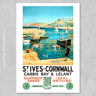 £5.50 • Buy GWR St Ives Poster - Railway Posters, Retro Vintage Travel Poster Prints